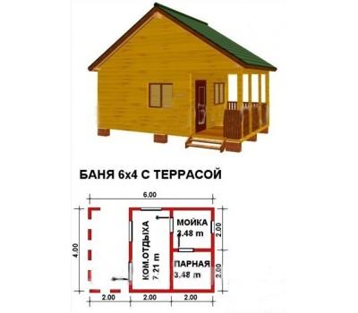 Баня 6*4м с террасой