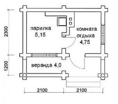 Баня 4,2*3,5м с террасой