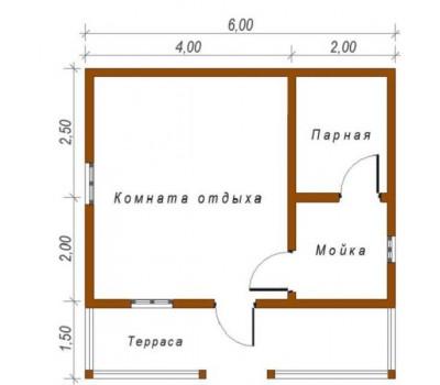 Баня 6*6м с террасой