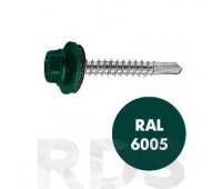 Саморезы дерево-металл 4,8х29 RAL6005 с ЭПДМ-прокладкой