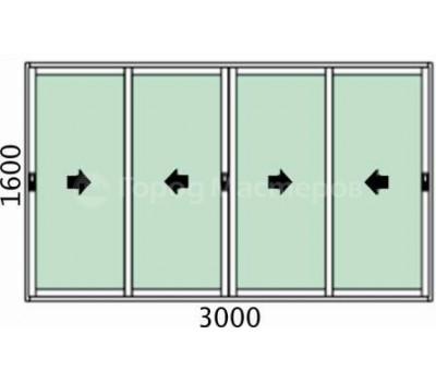 Лоджия 4-х створчатая 3000х1600