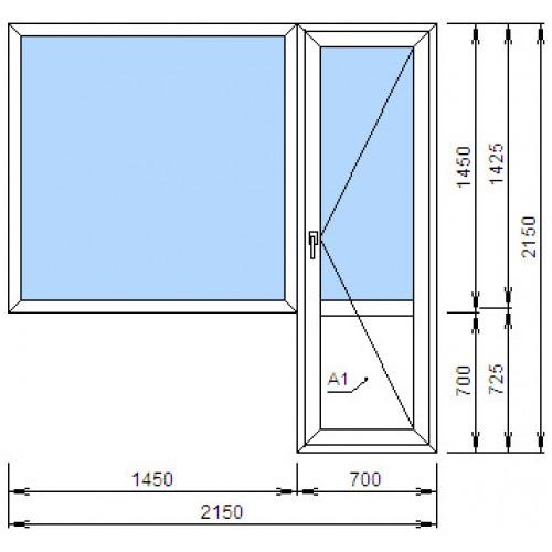 Ширина окна с балконной дверью