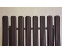 Металлический штакетник 2м прямоугольный фигурный GRAND LINE КОРИЧНЕВЫЙ